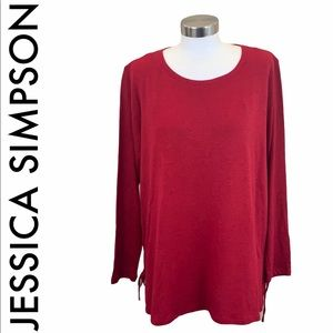 JESSICA SIMPSON NWT RED KNIT TOP SIZE 1X